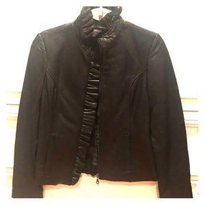 DKNY leather jacket w ruffle trim